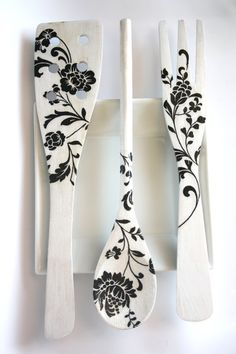 Decoupage Kitchen Decoration Black and White flowers by CatHot