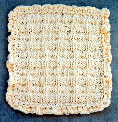 """Country Style Dishcloth - An easy pattern to knit! Great stitch detail, giving it a true """"country"""" look! Knit the fast pattern for dishcloth, then easy instructions for """"how to"""" knit on the border, using last stitch used of row. This is fairly easy for most knitters! Does not use much yarn. Uses worsted weight cotton yarns, knitting needles, US # 10.5.  $2.00"""