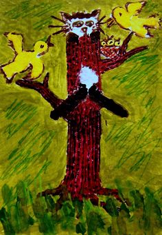 """ACEO ORIGINAL Cats & Birds """"Stumped""""  Cat-Bird mixed media Cat-Toon """"Stumped"""" - Still another CATastrophe! The best laid plan may backfire! for sale on eBay"""