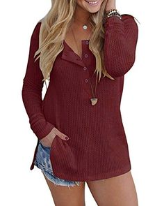 166bffbcc8a Women s Henleys - Inorin Womens Henley Blouse Fall Button Down Pullover Knit  Long Sleeve Lightweight Shirts Tops at Women s Clothing store