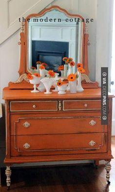 So awesome - barcelona orange dresser, white milk paint legs, white hardware, painted mirror. Probably my favorite MCC piece. Orange Painted Furniture, Chalk Paint Furniture, Distressed Furniture, Repurposed Furniture, Furniture Projects, Furniture Making, Furniture Makeover, Vintage Furniture, Diy Furniture