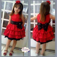 Vestido Vermelho poá preto