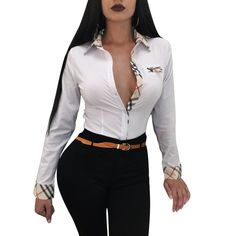 10c69558d1b Burberry Woman Men Fashion Lapel Shirt Top Tee from clothing
