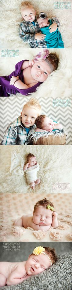 Newborn Baby Girl Photography. Brother and Sister.