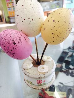 """1st the Harrison's bought in this vintage spool, I scooped it up, & added fabric ribbon, vintage buttons, & the stemmed speckled eggs (lightly taped on bottom for ease of removal after Spring) Barely at the shoppe 3 days! Love repurposing & crafting one-of-a-kind """"just-the-thang!""""(s) desgn by Michelle White of Treasured Gifts, In the Window, & Let Nature Sing Gifts ~ <3 ~ Visit us on their facebook pages! 3/1/16 MW ~ <3 ~ !"""