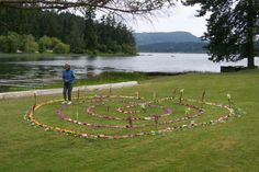 walking labyrinth made of flowers and/or found debris