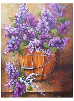 Beautiful!!!! country basket of lilacs original painting as a canvas print. Canvas gallery wrap print stretched on a wooden frame 1.5 thick ready to