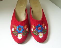 Szegedi Papucs  Vintage Hungarian by SarasAuntinManhattan on Etsy ~ I have a completely hand-made pair of these from Hungary.  Stunning!