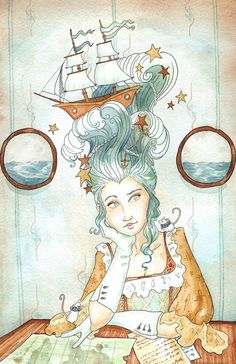 "I pinned this yesterday to my artwork board (as I finished this painting yesterday) but today I realize my ""Wild Hair"" folks might like it too! Enjoy :) Pirate Princess by Georgia Dunn Princess Art, Princess Room, Amazing Street Art, Fairytale Art, Pirates, Watercolor Paintings, Art Photography, Illustration Art, Artsy"