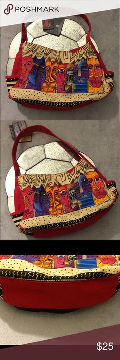 Laurel Burch cat embroidered canvas tote bag purse This red multicolor bag is perfect for the Laurel Burch aficionado or anyone that loves cats! This unique Laurel Burch canvas tote bag features African mud cloth-inspired (black and cream) print fused with the traditional Burch cat motif with beaded details. One inner zipper pocket. Two side pockets. Zipper top. *Note: there is slight discoloration on the back of the bag. See the last picture.  Interested? laurel burch Bags Totes