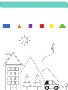 fisa de colorat cu figuri si geometrice - Căutare Google Maths Puzzles, Playing Cards, Google, Geometry, Math Puzzles Brain Teasers, Cards