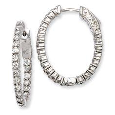 Sterling Silver Rhodium-plated CZ Hinged Oval Hoop Earrings QE7995