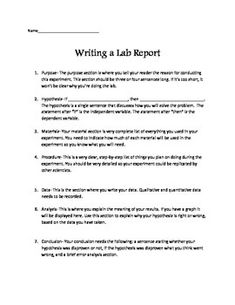 writing lab reports high school Writing a good lab report requires you to include the following parts: title page   results and discussion – a very important part to write lab report that  our  customers are high school, college and university students from around the globe.