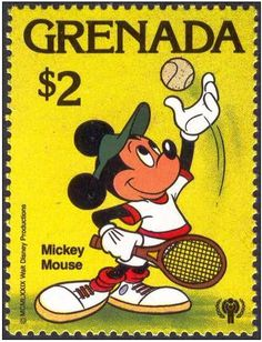 Francobollo: Tennis (Grenada) (Disney (International Year of the Child - Sports)) Mi:GD 1032 Mickey Mouse Art, Disney Mickey, Walt Disney, Disney And More, Disney Love, Stamp World, Disney Posters, Vintage Stamps, Disney Family