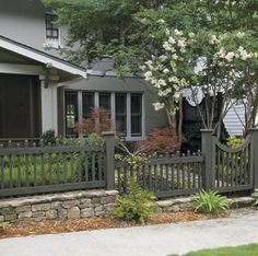 retaining wall with fence on top - Google Search