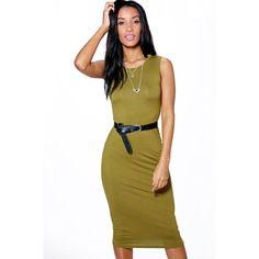 Boohoo Basics Lindsey Sleeveless Midi Dress ($16) ❤ liked on Polyvore featuring dresses, olive, white bodycon dress, day to night dresses, bodycon midi dress, midi dress and white cocktail dresses