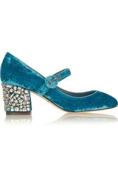 Zapatos mary jane de terciopelo azul de Dolce & Gabbana