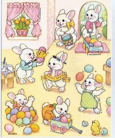 Stickers Vintage 2 sheets GIBSON Scene of Easter with Bunnies 1988 Rare A1-7 #GibsonGreetings #Stickers
