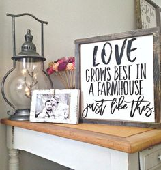 Farmhouse sign farmhouse decor love grows by WoodenThatBeSomethin