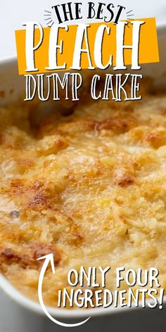 This old-fashioned peach dump cake is quick and easy dessert you'll absolutely love. A dump cake is a cake made by dumping the ingredients, which typically include store-bought cake mix, directly in a pan before baking. For this recipe, we used canned peaches along with cinnamon and cake mix to create a bubbly and warm dessert. It's the best when served fresh and hot out of the oven with cold vanilla ice cream scooped on top. Dessert Dishes, Köstliche Desserts, Homemade Desserts, Health Desserts, Dessert Recipes, Cakes To Make, Peach Cobbler Dump Cake, Easy Peach Cobbler Recipe With Cake Mix, Cake Mix Cobbler