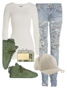 """""""Untitled #4032"""" by stylistbyair ❤ liked on Polyvore featuring Yves Saint Laurent, K1X, Flexfit, Rick Owens and In God We Trust"""