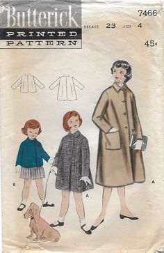 Butterick 7466 Girl's 50s Winter Box Coat: Long or Short  Size 4, Breast 23 by…