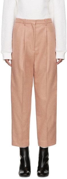 Straight-leg wool gabardine trousers in heather 'rose' pink. High-rise…