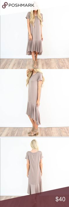 Dress Color: Taupe  Model is 5'3 wearing size small  95% Polyeser , 5% Spandex  wash on cold / hang dry Dresses