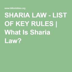 SHARIA LAW - LIST OF KEY RULES | What Is Sharia Law?