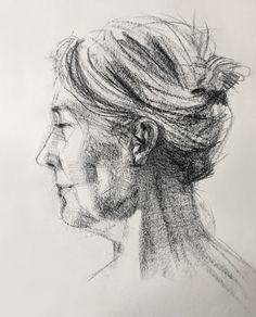 Lorna in Conte Crayon by David Gamblin