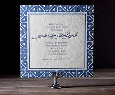 Letterpress Wedding Invitations | Byzantine Design | Bella Figura Letterpress blue, script