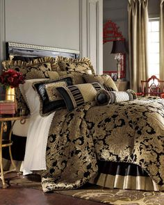 Shop Sienna Pieced Neck Roll Pillow from Austin Horn Classics at Horchow, where you'll find new lower shipping on hundreds of home furnishings and gifts. Luxury Bedding Collections, Luxury Bedding Sets, Classic Bedding Sets, Neck Roll Pillow, Silk Pillow, Pillow Shams, Black Bedding, Queen Comforter Sets, Bed Sets