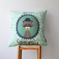 "Woodland Nursery Pillow, Geometric Decorative Pillow, Mint Cushion Cover, Kids Pillow Cover 16"" x 16"""