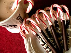Chocolate dipped candy canes.