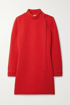 SAINT LAURENT pays tribute to the '60s for Spring '21. A key look from the collection, this mini dress is tailored in a shift shape from red wool-blend and has a high neck. Wear it on its own with sharp boots or style it as a tunic over the [matching pants id1324696]. Fashion Advice, Fashion News, Saint Laurent, Dress First, Mini, Wool Blend, Menswear, Shopping, Sweatshirts