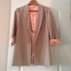 Candie's Satin lined blazer Candie's khaki blazer with peach full satin liner. Perfect for spring and Easter. NWOT Candie's Jackets & Coats Blazers