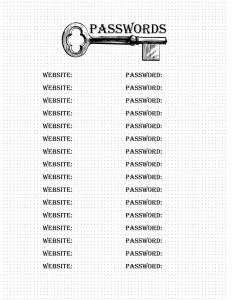 Password Log Bullet Journal Page Free Printable