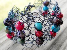 Chunky Fun Colored Gemstone Wire Crochet Cuff by MegsCrochetJewels, $35.00