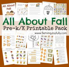 It's FREE! All About Fall printable pack for prek and K!