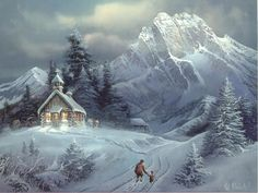 Snow cabin in the mountains