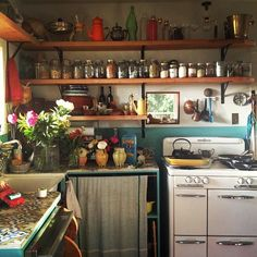 So much like the little kitchen I had in my college years. I could cook huge meals in that kitchen.. somehow! | Kitchen.Pantry.Laundry