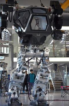 The giant human-like robot bears a striking resemblance to the military robots from Avatar and is claimed as a world first by its creators from a South Korean robotic company. Picture: Jung Yeon-Je