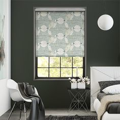 Choices Moonlit Cranes Linen Silver Roller Blind%20from%20Blinds%202go