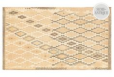 3'1''x5'6'' Kilim Rug  Age:semi-antique, 1950s  Construction:hand-knottedMade of:wool  Origin:TurkeySize:3'1'' x 5'6''  Color:tan/mocha/beigeCare:Professional clean only.