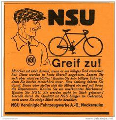 Original-Werbung/Inserat/ Anzeige 1927 - NSU FAHRRÄDER ca. 90 X 90 mm