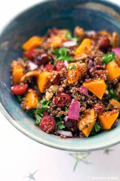 Quinoa salad recipe with butternut squash, cranberries and red onion