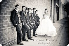 Love this shot of quinceanera girl with her chambelanes lined up for her quince