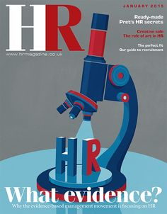 Andy Potts illustrated a cover for HR magazine on the theme of human resources under examination by evidence-based management.