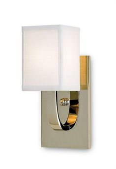 Currey & Company Sadler Wall Sconce (Lillian August Collection) #5084 | PRODUCT NAME: Sadler Wall Sconce, DIMENSIONS: 12h x 6d x 5w, NUMBER OF LIGHTS: 1, SHADES: White Linen, MATERIAL: METAL FINISH: Nickel, WATTAGE PER LIGHT: 60, TOTAL WATTAGE: 60, BULB TYPE: Candelabra