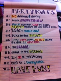 basic party rules (especially love 9 & 10)